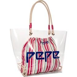 b7b5a1f2a3cec Pepe Jeans shopper bag z tkaniny na ramię bez dodatków
