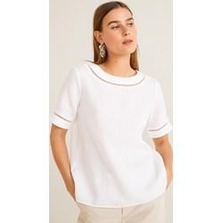 594d9c3c2da14 Bluzka damska Mango biała z okrągłym dekoltem