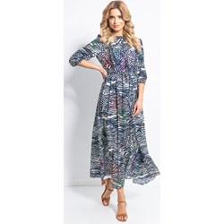 214a94c872dac Fobya sukienka z okrągłym dekoltem na spacer z długim rękawem maxi