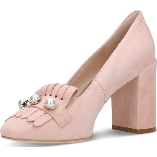 df6d21b777f91 ... Czółenka Gino Rossi różowe eleganckie na wysokim obcasie z okrągłym  noskiem ...