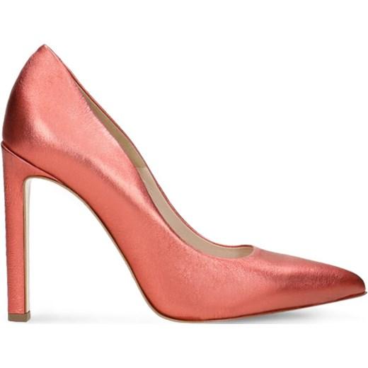 2af7770c49ae5 Czółenka Gino Rossi różowe ze szpiczastym noskiem bez wzorów na wysokim  obcasie bez zapięcia na szpilce ...