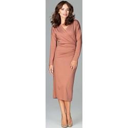 9c7e4ec207 Sukienka Katrus elegancka z długim rękawem do pracy ołówkowa gładka