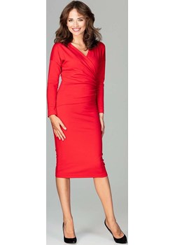 Czerwona Ołówkowa Sukienka z Kopertowym Dekoltem Katrus  Coco-fashion.pl  - kod rabatowy