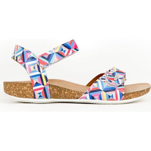 Sandały damskie Zapato casual na rzepy bez obcasa w geometryczne wzory Buty Damskie QB wielokolorowy Sandały damskie YBLM