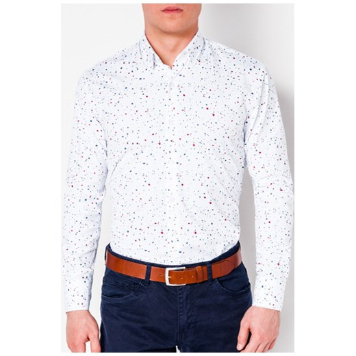 b15c45818 Koszula męska Ombre Clothing młodzieżowa z długim rękawem biała w Domodi