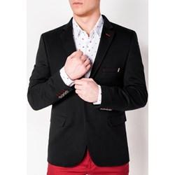 649757877ef72 Marynarka męska Ombre Clothing jesienna czarna gładka bawełniana