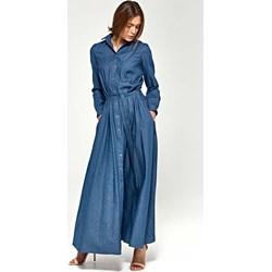 74e8652ef4 Granatowa sukienka Nife jeansowa maxi biznesowa koszulowa