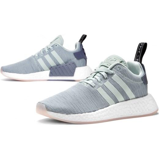 57d7cb4f Buty sportowe damskie Adidas nmd bez wzorów szare sznurowane w Domodi