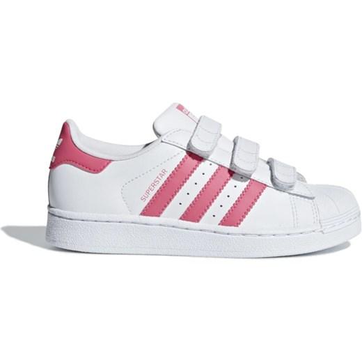 Trampki dziecięce Adidas skórzane białe na rzepy