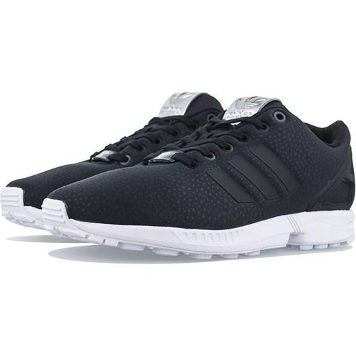 Buty sportowe damskie Adidas zx flux granatowe eleganckie bez wzorów na płaskiej podeszwie sznurowane