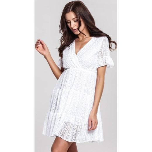 2b560fa10 Sukienka Renee mini oversize'owa biała z krótkim rękawem w Domodi