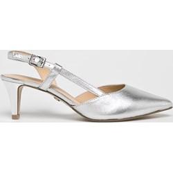8c1f382b Czółenka Caprice eleganckie bez wzorów ze szpiczastym noskiem srebrne na  średnim obcasie