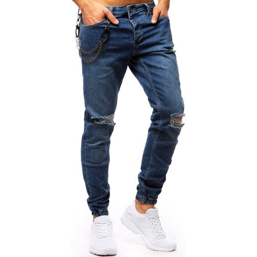 5ac70fde18b93c Spodnie joggery jeansowe męskie niebieskie (ux1271) Dstreet 30 okazyjna  cena 13