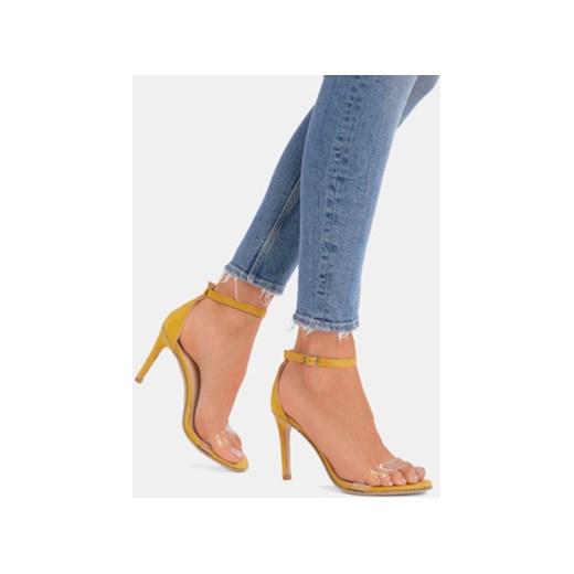 Żółte sandały damskie DeeZee eleganckie z klamrą na wysokim obcasie bez wzorów na szpilce Buty Damskie TY żółty Sandały damskie YMVR