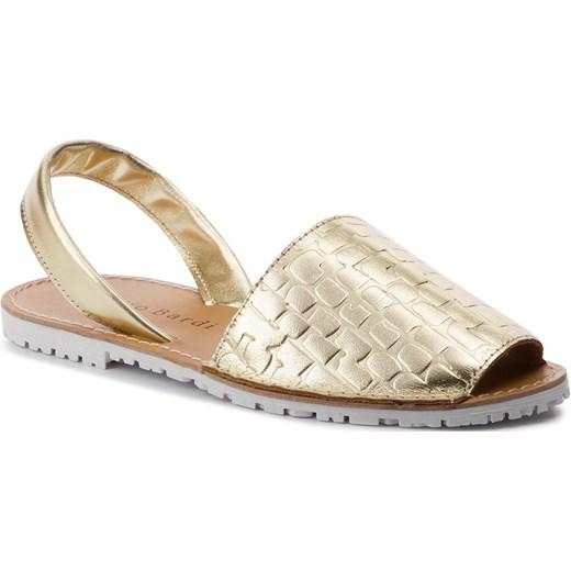 Złote sandały damskie Sergio Bardi na płaskiej podeszwie płaskie z tworzywa sztucznego Buty Damskie BV złoty Sandały damskie FNWS