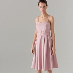 7197a79d92 Sukienka Mohito różowa bez wzorów rozkloszowana midi