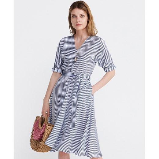 ebc33e9032 Reserved sukienka w paski niebieska z długim rękawem w Domodi