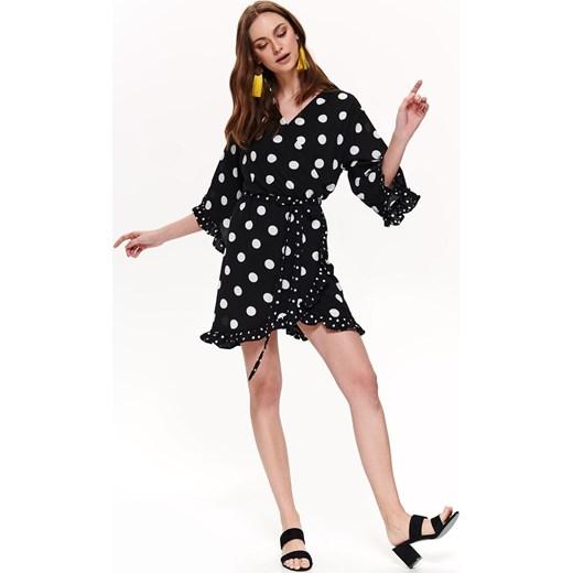 b1f956dfa021a7 Sukienka Top Secret asymetryczna czarna z długim rękawem casual w groszki  na spacer mini