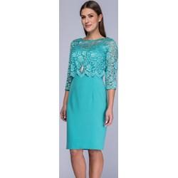 cc14d0bed6 Sukienka Semper koronkowa z okrągłym dekoltem niebieska