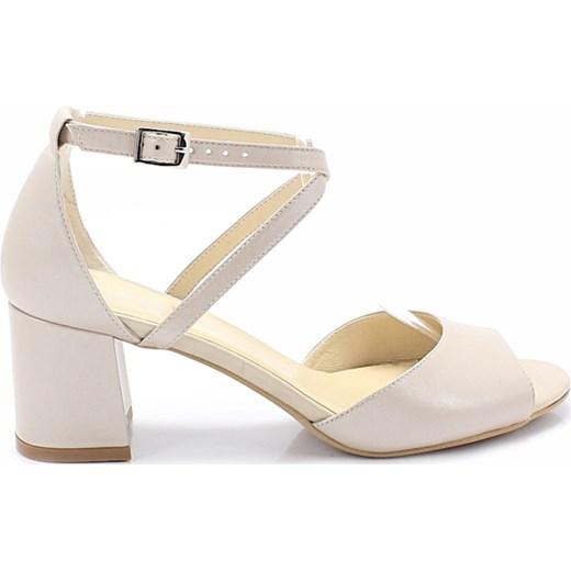 Sandały damskie Edeo bez wzorów z klamrą na średnim obcasie