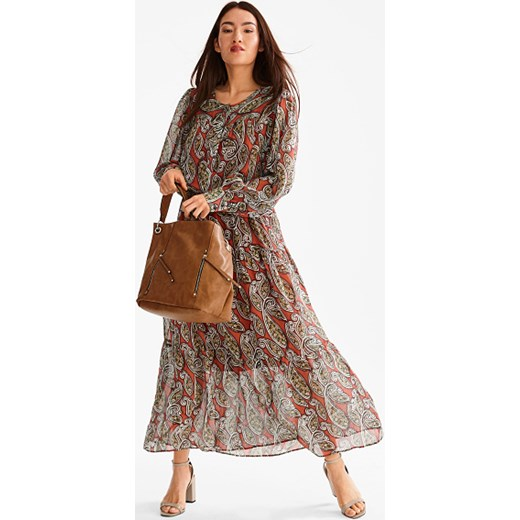 058633d9de Sukienka Yessica Premium w kwiaty z długimi rękawami z okrągłym dekoltem