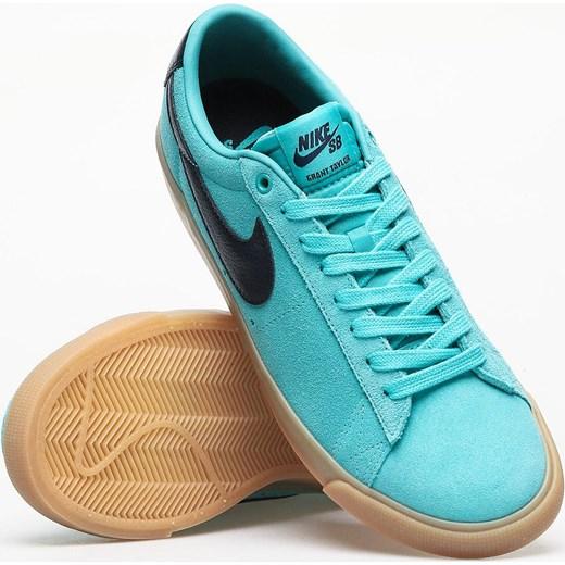wylot Trampki męskie Nike sb niebieskie sznurowane zamszowe