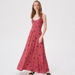 400b8f4aff Sukienka Sinsay czerwona rozkloszowana maxi na spacer