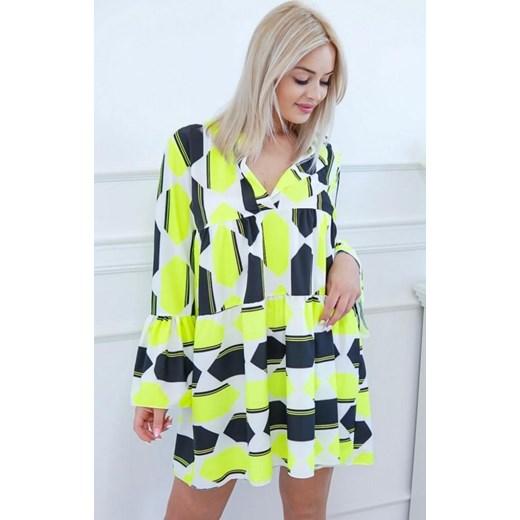 bf1f8e9252 Sukienka z długim rękawem wielokolorowa w abstrakcyjne wzory mini ...