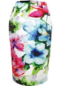 Spódnica w kwiaty Oktawia. zielony  SU unusual woman  - kod rabatowy