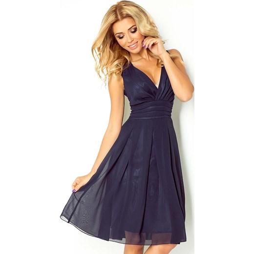 604160a121 Granatowa Sukienka Wieczorowa z Szyfonu z Dekoltem V Numoco L MOLLY.PL