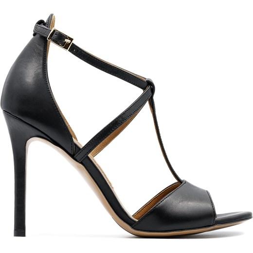 a07c610d98b6f ... Czarne skórzane sandały na szpilce ze skrzyżowanymi paseczkami 103B  Neścior 40 promocyjna cena NESCIOR ...