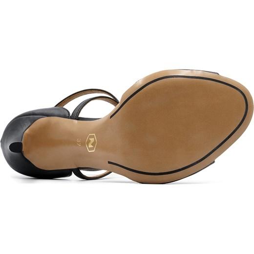 91f45053d18dc ... Czarne skórzane sandały na szpilce ze skrzyżowanymi paseczkami 103B  Neścior 39 NESCIOR okazja