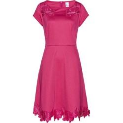 b40272cffc Sukienka Bonprix z okrągłym dekoltem midi z krótkim rękawem trapezowa