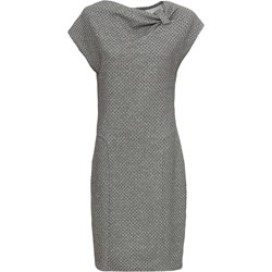 4d0b3e53 Bonprix sukienka midi z krótkim rękawem z asymetrycznym dekoltem casual  szara bez wzorów