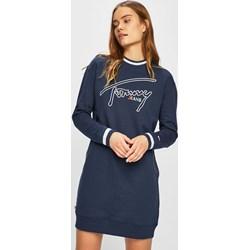 446a91b40a Tommy Jeans sukienka mini oversize owa luźna z okrągłym dekoltem z długim  rękawem