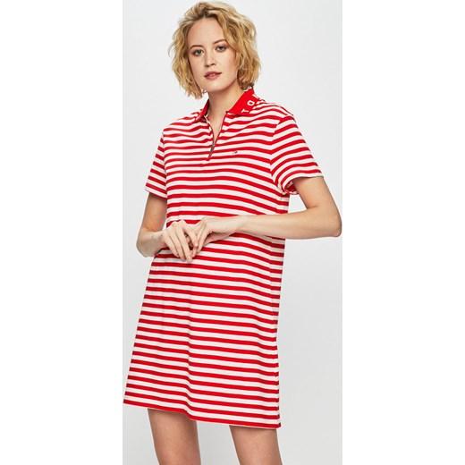 e71855be7b Sukienka Tommy Jeans luźna w paski różowa mini dzianinowa na spacer ...