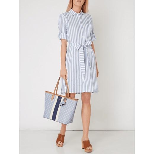 40351424e6052 Shopper bag Joop! elegancka z nadrukiem niebieska bez dodatków duża ...