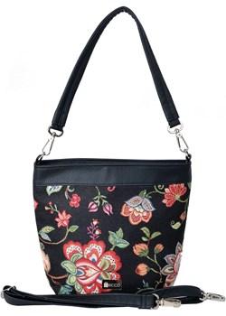 Shopper Czarne Kwiaty Desiquel   wyprzedaż Geccobag  - kod rabatowy