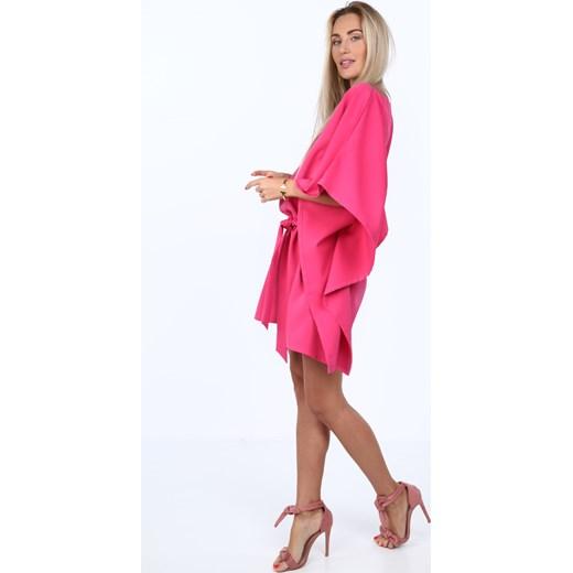 Sukienka NA-KD Boho na randkę z długimi rękawami bez wzorów midi z dekoltem w serek kopertowa Odzież Damska ZO czerwony Sukienki.