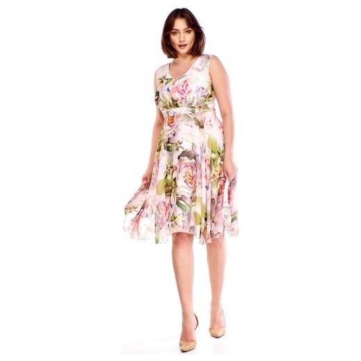 0bb380aade ... na spacer z okrągłym dekoltem  Sukienka Bellezza midi z okrągłym  dekoltem