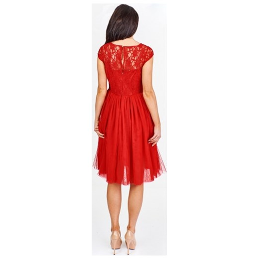 7cb5d5816e ... Czerwona sukienka Efect bez rękawów tiulowa elegancka na sylwestra midi