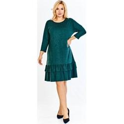 b1c7687448 Sukienka Bomo Moda zielona bez wzorów z długim rękawem midi do pracy