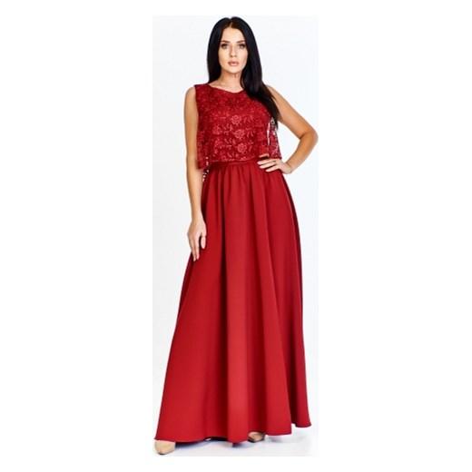 4b031cc1ae Sukienka Keyla koronkowa na karnawał bez rękawów elegancka maxi z tkaniny   Sukienka Keyla maxi koronkowa ...