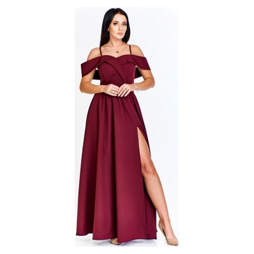 724083789b Sukienka Keyla elegancka czerwona maxi na karnawał bez wzorów w Domodi
