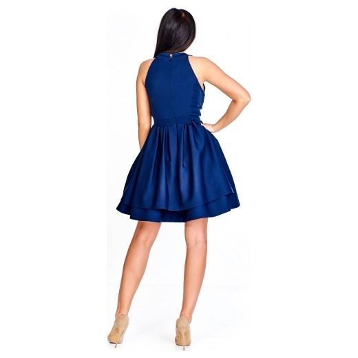 25b38eb039 Sukienka Quarelle na bal midi bez rękawów rozkloszowana  Sukienka Quarelle  niebieska na sylwestra rozkloszowana na bal ...