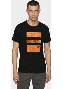 T-shirt męski TSM008 - głęboka czerń   4F - kod rabatowy