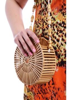 Okrągła drewniana torebka na ramię   Modne Duże Rozmiary - kod rabatowy