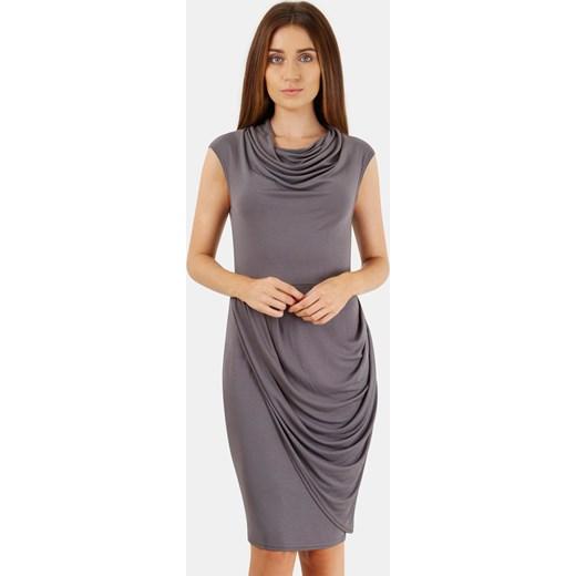 dd684dfc50 Sukienka fioletowa Closet London midi ołówkowa bez rękawów biznesowa z  marszczonym dekoltem bez wzorów ...