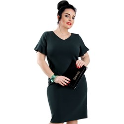 f44e22a76d Sukienka Lamar z krótkimi rękawami midi dla puszystych