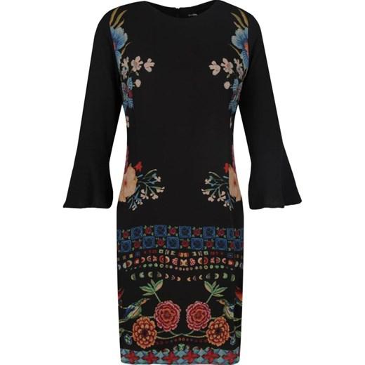 3177116bd1 Sukienka Desigual z długim rękawem midi na uczelnię z okrągłym dekoltem ...